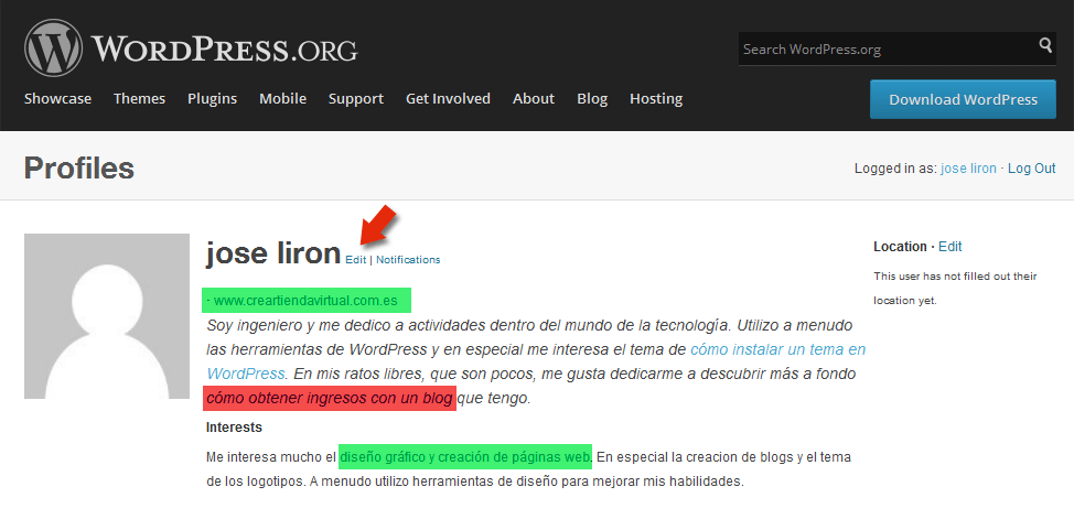 Crear enlaces de calidad para posicionamiento web - users profile WP.org